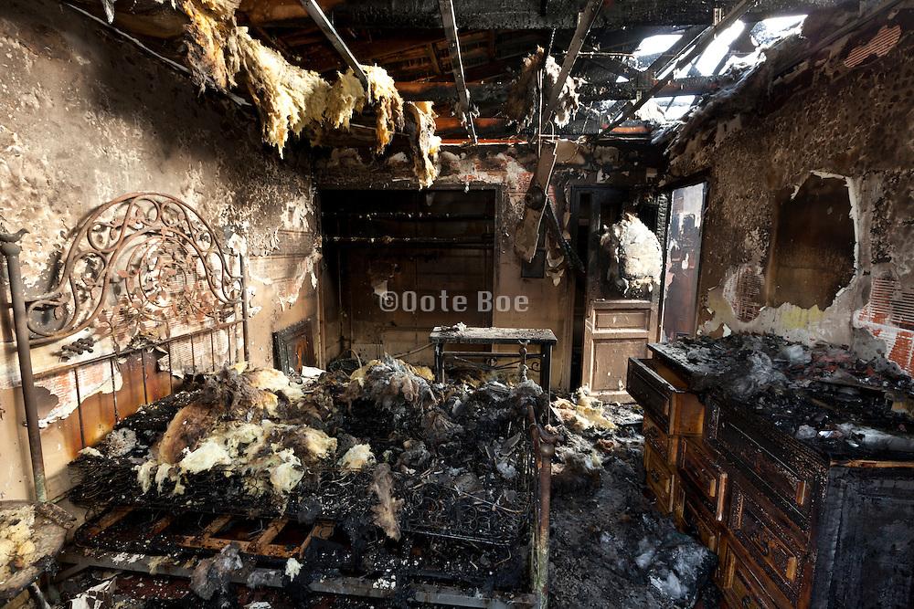 burned out bedroom