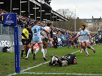 Rugby Union - 2019 / 2020 European Rugby Heineken Champions Cup - Pool Three: Bath vs. Ulster<br /> <br /> Ulster celebrate their 17-16 victory as Jacob Stockdale denies Bath Rugby's Semesa Rokoduguni at the final whistle, at The Recreation Ground.<br /> <br /> COLORSPORT/ASHLEY WESTERN