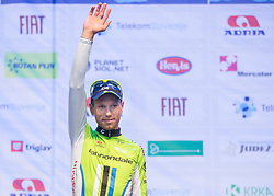 Secon placed Kristijan Koren of Cannondalle at flower ceremony after the Stage 1 of 21st Tour of Slovenia 2014 - Time Trial 8,8 km cycling race in Ljubljana, on June 19, 2014 in Slovenia. Photo By Vid Ponikvar / Sportida