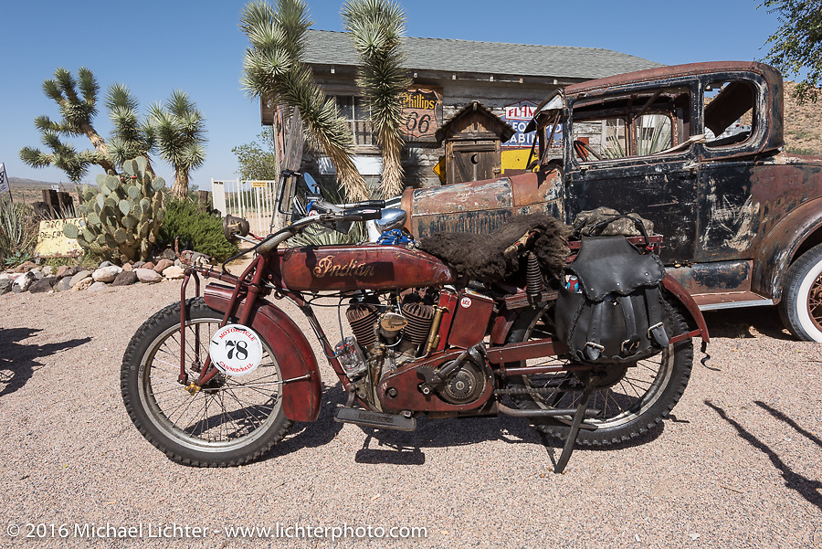 Clint Funderburg's 1916 Indian at the Hackberry General Store on historic Route 66 in Kingman, Arizona during the Motorcycle Cannonball Race of the Century. Stage-13 ride from Williams, AZ to Lake Havasu CIty, AZ. USA. Friday September 23, 2016. Photography ©2016 Michael Lichter.