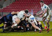 Sale Sharks lock Lood De Jager is tackled short of the line during a Gallagher Premiership Round 11 Rugby Union match, Friday, Feb 26, 2021, in Eccles, United Kingdom. (Steve Flynn/Image of Sport)