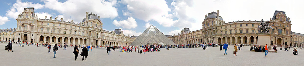 Louvre Museum entrance courtyard. High resolution panorama.