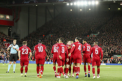 October 24, 2018 - Liverpool, England, United Kingdom - Liverpool forward Roberto Firmino (9) celebrates with his teammates after scoring his goal during the Uefa Champions League Group Stage football match n.3 LIVERPOOL - CRVENA ZVEZDA on 24/10/2018 at the Anfield Road in Liverpool, England. (Credit Image: © Matteo Bottanelli/NurPhoto via ZUMA Press)