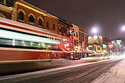Editorial Travel Photography: Passing street car and tramway on King Street in Downtown Toronto, Ontario, Canada