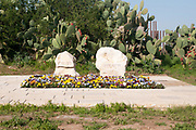 The tombs of the late Prime Minister of Israel Ariel (Arik) Sharon and wife Lily at Havat Shikmim in the northern Negev Desert, near Sderot. Sharon purchased the ranch in 1972 with the help of a loan from Meshulam Riklis.