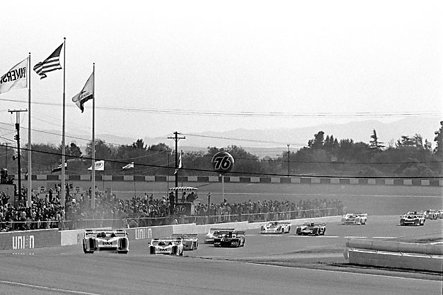 George Follmer, 1972 Can-Am champion, leads team mate Mark Donohue on opening lap for that year's final race at Riverside; Photo by Pete Lyons 1972 / www.petelyons.com