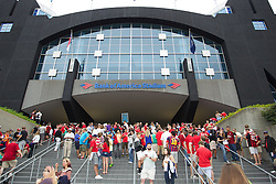CHARLOTTE, USA - Saturday, August 2, 2014: Liverpool supporters arrive at the stadium before the International Champions Cup Group B match at the Bank of America Stadium on day thirteen of the club's USA Tour. (Pic by Mark Davison/Propaganda)