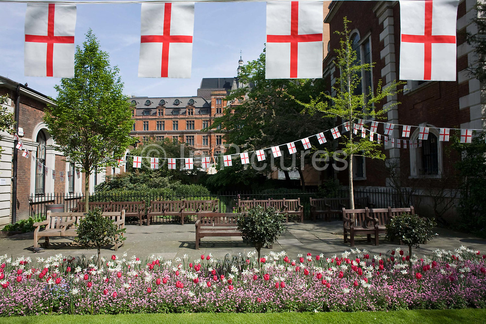St George's Day flags fly during the lunchtime of 23rd April, England's national day. Christian worship has probably been offered at this location at the church of St. Botolph's without Bishopsgate since Roman times. The original Saxon church, the foundations of which were discovered when the present church was erected, is first mentioned as 'Sancti Botolfi Extra Bishopesgate' in 1212. St. Botolph without Bishopsgate may have survived the Great Fire of London unscathed, and only lost one window in the Second World War, but on 24 April 1993 was one of the many buildings to be damaged by an IRA bomb.