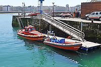 Rescue craft, moored, harbour, San Sebastian, Donostia, Spain, May, 2015. Cruz Roja, Red Cross, vehicle, parked, quayside, 201505101026<br />