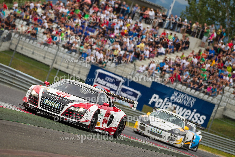 10.08.2013, Red Bull Ring, Spielberg, AUT, ADAC GT Masters, 1. Rennen, im Bild Prosperia C. Abt Racing, (#27, Rene Rast, GER und Christopher Mies, GER), Tonino powered by Herberth Motorsport, (#8, Robert Renauer, GER ind Martin Ragginger, AUT) // during the ADAC GT Masters 1st race day at the Red Bull Ring in Spielberg on August 10th 2013, EXPA Pictures © 2013, PhotoCredit: EXPA/ Mario Kuhnke