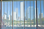 Skyline of Chicago from inside the Art Institute in Chicago, IL, USA.