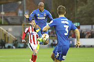 AFC Wimbledon midfielder Jimmy Abdou (8) controlling the ball during the The FA Cup match between AFC Wimbledon and Lincoln City at the Cherry Red Records Stadium, Kingston, England on 4 November 2017. Photo by Matthew Redman.