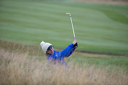 Great Britain's Georgia Hall has to play from the fairway bunker at the 16th during her Semi Final match with Sweden this morning during day eleven of the 2018 European Championships at Gleneagles PGA Centenary Course.
