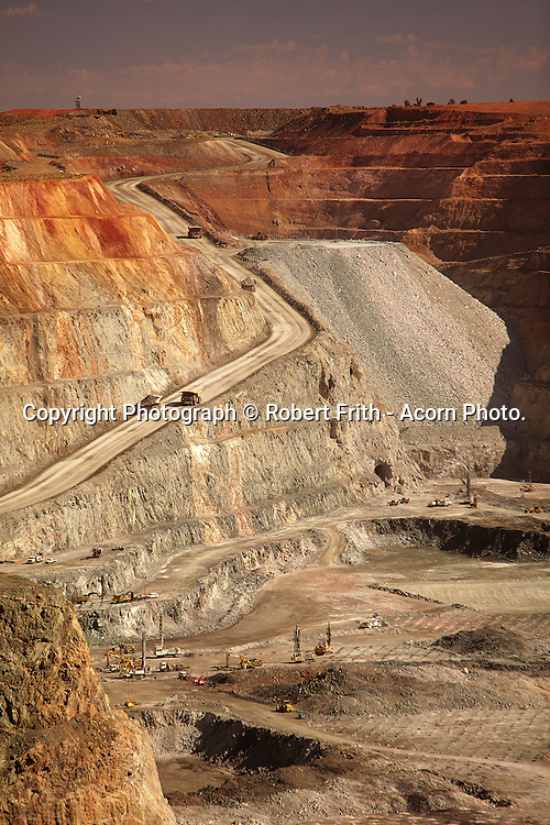 Kalgoorlie Superpit<br /> The Fimiston Open Pit, colloquially known as the Super Pit, was Australia's largest open cut gold mine until 2016 when it was surpassed by the Newmont Boddington gold mine also in Western Australia. The Super Pit is located off the Goldfields Highway on the edge of Kalgoorlie, Western Australia. The pit is oblong in shape and is approximately 3.5 kilometres long, 1.5 kilometres wide and 570 metres deep. At these dimensions, it is large enough to be seen from space