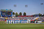 India vs Pakistan, the two teams stand to attention during their respective national anthems at the 2011 ICC Cricket World Cup semi-final match,  Mohali, India