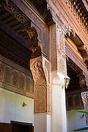Mocarabe Berber arabesque plasterwork capitals.The Petite Court, Bahia Palace, Marrakesh, Morroco