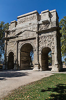 The Triumphal Arch of Orange is a monument characteristic of Roman architecture in Provence. This arch is built with of three openings and an abundance of decorative figures sculpted into the limestone. This arch is one of the oldest and biggest of its kind from the Roman period. The Triumphal Arch of Orange is considered as one of the most important Roman Gaul relics.  The Triumphal Arch does not represent any particular victory.  Rather, it  symbolises Roman supremacy over land and seas and dedicated to the glory of its armies and Emperor Tiberius.  The Triumphal Arch of Orange is a UNESCO World Heritage site.