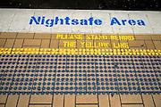 Nightsafe Area and tactile paving (aka detectable Warning surface) on Railway Station Platform, Sydney, Australia