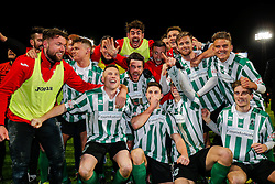The Blyth Spartans team celebrates on the pitch after they win 1-2 to progress to the next round of the FA Cup - Photo mandatory by-line: Rogan Thomson/JMP - 07966 386802 - 05/12/2014 - SPORT - FOOTBALL - Hartlepool, England - Victoria Park - Hartlepool United v Blyth Spartans - FA Cup Second Round Proper.