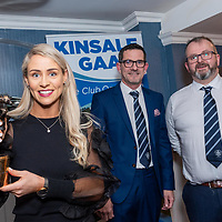 Cork Footballer Orla Finn with her second All Star award at a special presentation to Orla in the Blue Haven Hotel by Kinsale GAA represented by Pat O'Regan and Laurence Murphy.<br /> Picture. John Allen