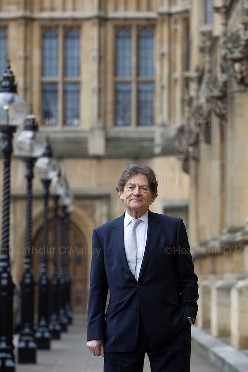 May0029002 . Daily Telegraph..Features..Lord Lawson,  who served as the Chancellor of the Exchequer in the government of Margaret Thatcher from June 1983 to October 1989, photographed outside the House of Lords where he sits as a life peer..London 27 January 2011..