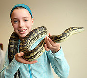 24/11/2019 repro free:  Sorcha Hynes and Matilda the Carpet Python during the Bug Doctor's talk on the last day of the Galway Science and Technology Festival  at NUI Galway where over 20,000 people attended exhibition stands  from schools to Multinational Companies . Photo:Andrew Downes, xposure