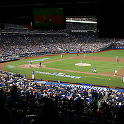Pitcher Edinson Volquez, Kansas City Royals, watches a double play while pitching during the New York Mets Vs Kansas City Royals, Game 5 of the MLB World Series at Citi Field, Queens, New York. USA. 1st November 2015. Photo Tim Clayton