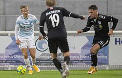 Carl Lange (FC Helsingør) under kampen i 1. Division mellem FC Helsingør og Kolding IF den 24. oktober 2020 på Helsingør Stadion (Foto: Claus Birch).
