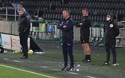 Peterborough United Manager Darren Ferguson watches on from the touchline alongside Hull City manager Grant McCann - Mandatory by-line: Joe Dent/JMP - 24/10/2020 - FOOTBALL - KCOM Stadium - Hull, England - Hull City v Peterborough United - Sky Bet Championship