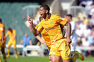 Newport's Joss Labadie celebrates after he scores his teams 2nd goal.  Skybet EFL league two match, Newport county v Mansfield Town at Rodney Parade in Newport, South Wales on Saturday 6th August 2016.<br /> pic by Carl Robertson, Andrew Orchard sports photography.