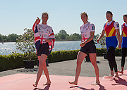 Brandenburg. GERMANY. GBR W2-. bow Helen GLOVER and Heather STANNING. spot a face in the crowd? gold medalist in the  womens pair at the<br /> 2016 European Rowing Championships at the Regattastrecke Beetzsee<br /> <br /> Sunday  08/05/2016<br /> <br /> [Mandatory Credit; Peter SPURRIER/Intersport-images]