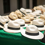 Rows of new Panama hats for sale at a market in Casco Viejo in Panama City, Panama. The style of hat is distinctive to the region.