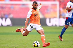 October 22, 2017 - Brisbane, QUEENSLAND, AUSTRALIA - Fahid Ben Khalfallah of the Roar (#14) kicks the ball during the round three Hyundai A-League match between the Brisbane Roar and the Newcastle Jets at Suncorp Stadium on October 22, 2017 in Brisbane, Australia. (Credit Image: © Albert Perez via ZUMA Wire)