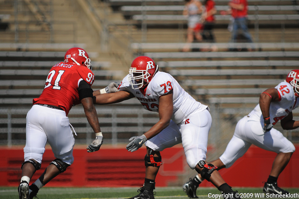 Apr 18, 2009; Piscataway, NJ, USA; Rutgers OL Desmond Stapleton (73) blocks DL Justin Francis (91) during the second half of Rutgers' Scarlet and White spring football scrimmage.