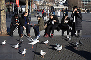 Chinese tourists at the Tower of London sit outside eating their lunch as a flock of seagulls gathers to pick up the scraps in London, England, United Kingdom.