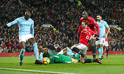 Manchester United's Juan Mata makes an attempt at goal during the Premier League match at Old Trafford, Manchester.