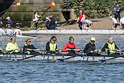 Mortlake/Chiswick, GREATER LONDON. United Kingdom. Lea Rowing Club<br /> W.MasE.8+.competing in the 2017 Vesta Veterans Head of the River Race, The Championship Course, Putney to Mortlake on the River Thames.<br /> <br /> <br /> Sunday  26/03/2017<br /> <br /> [Mandatory Credit; Peter SPURRIER/Intersport Images]