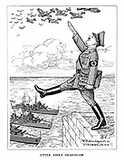 Little Adolf Head-in-Air. (Hitler salutes his airforce on their way to Blitz England but walks off the water's edge as the British Navy waits below in a reference to Little Johnny Head-In-Air)