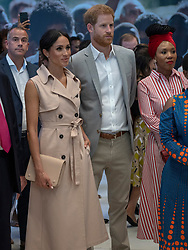 The Duke and Duchess of Sussex during their visit to the Nelson Mandela centenary exhibition at Southbank Centre's Queen Elizabeth Hall, London.
