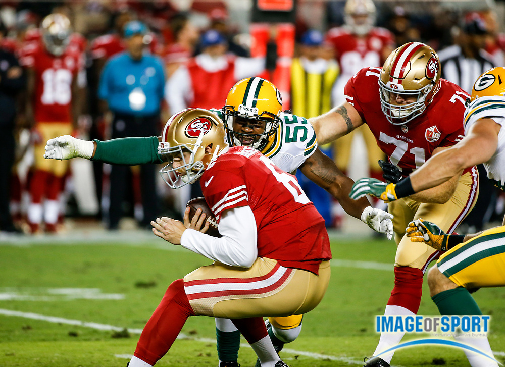 Aug 26, 2016, Santa Clara, CA, USA; San Francisco 49ers quarterback Jeff Driskel (6) is sacked in the third quarter against the Green Bay Packers in a preseason NFL game at Levi's Stadium. Green Bay beat San Francisco 21-10.
