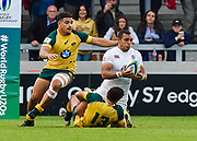 Australia centre Liam Jurd and centre Sione Tuipolotu double team on England centre Joe Marchant during the World Rugby U20 Championship  match England U20 -V- Australia U20 at The AJ Bell Stadium, Salford, Greater Manchester, England on June  15  2016, (Steve Flynn/Image of Sport)
