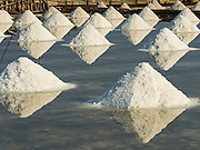 22 FEBRUARY 2017 - BAN LAEM, PETCHABURI, THAILAND: Salt stacked in a field during the salt harvest in Petchaburi province of Thailand, about two hours south of Bangkok on the Gulf of Siam. Salt is collected in coastal flats that are flooded with sea water. The water evaporates and leaves the salt in large pans. Coastal provinces south of Bangkok used to be dotted with salt farms, but industrial development has pushed the salt farms down to remote parts of Petchaburi province. The harvest normally starts in early February and lasts until early May, but this year's harvest was delayed by a couple of weeks because of unseasonable rain in January that flooded many of the salt collection ponds.    PHOTO BY JACK KURTZ