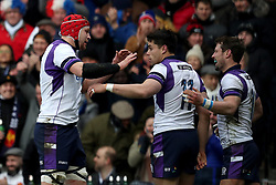 Scotland's Sean Maitland (centre) celebrates scoring his side's first try of the game during the NatWest 6 Nations match at BT Murrayfield, Edinburgh.