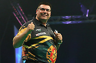 Jose De Sousa wins his match against Dimitri Van den Bergh and celebrates during the PDC Unibet Premier League darts at Marshall Arena, Milton Keynes, United Kingdom on 24 May 2021.