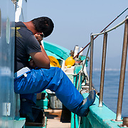 Exhausted from a long night and morning of fishing in Suruga Bay, Hasegawa-san dozing off on the way back to port