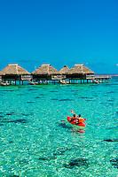 Kayaking, Hilton Moorea Lagoon Resort, island of Moorea, French Polynesia.