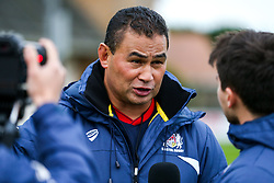 Bristol Rugby Head Coach Pat Lam is interviewed by Tom Tainton after a bonus point win - Rogan/JMP - 28/10/2017 - RUGBY UNION - Stade Santander International - St Peter, Jersey - Jersey Reds v Bristol Rugby - Greene King IPA Championship.