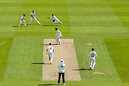 Wicket, Felix Organ of Hampshire is caught by Ben Foakes of Surrey bowled Jordan Clark of Surrey during the Specsavers County Champ Div 1 match between Surrey County Cricket Club and Hampshire County Cricket Club at the Kia Oval, Kennington, United Kingdom on 18 August 2019.