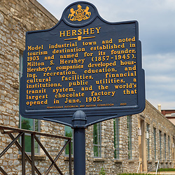 Hershey, PA, USA - June 6, 2011: Historical Marker Sign at the Hershey Chocolate factory.