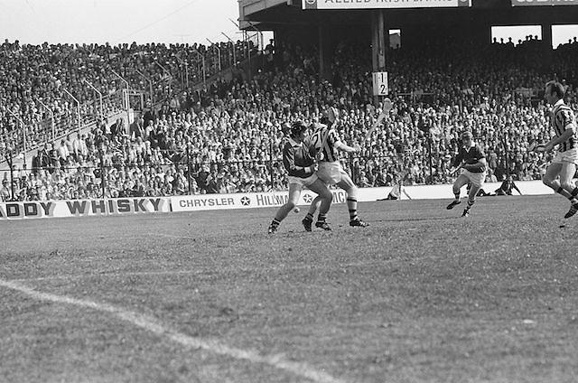 Cork and Kilkenny players clash over possession of the ball during the beginning of the All Ireland Senior Hurling Final, Cork v Kilkenny in Croke Park on the 3rd September 1972. Kilkenny 3-24, Cork 5-11.